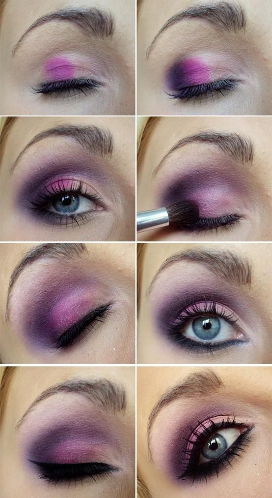 Maquillaje-con-sombra-Fucsia-y-Morado-pasos-1
