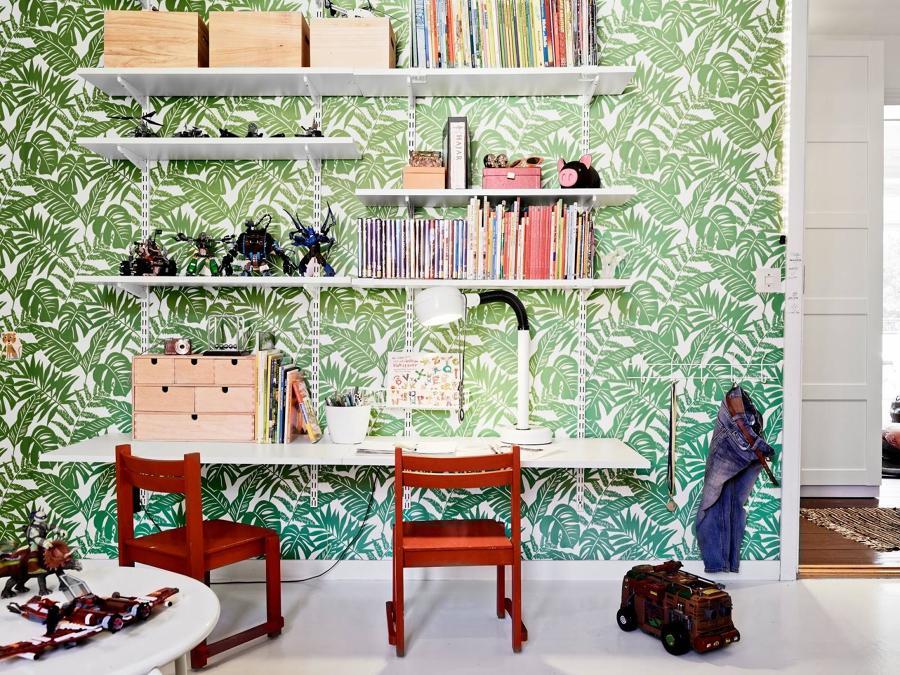 dormitorio-ninos-con-papel-pintado-botanico-atelier-alicante